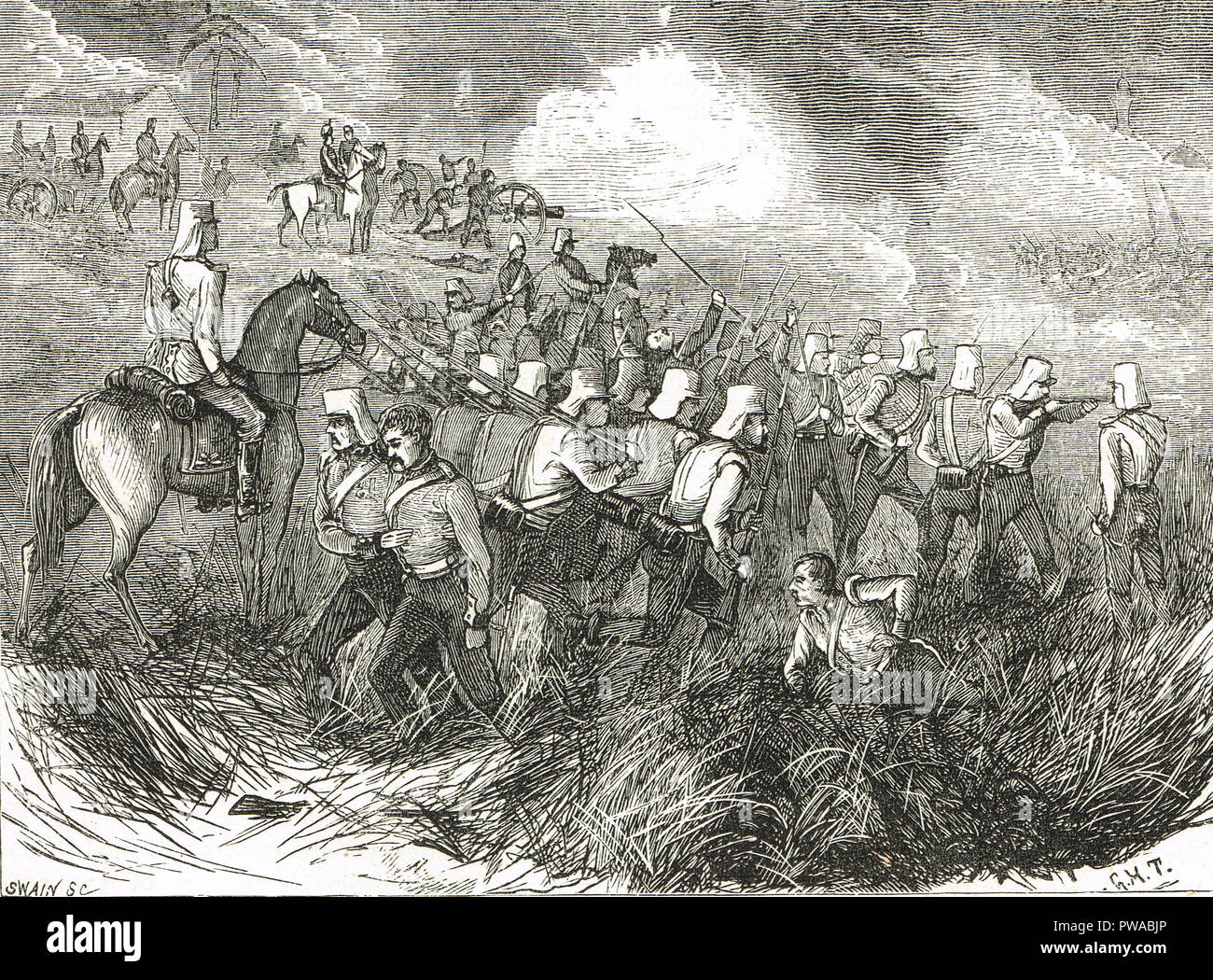The Battle of Ferozeshah, fought on 21 and 22 December 1845, between the  British and the Sikhs, Ferozeshah in Punjab, India