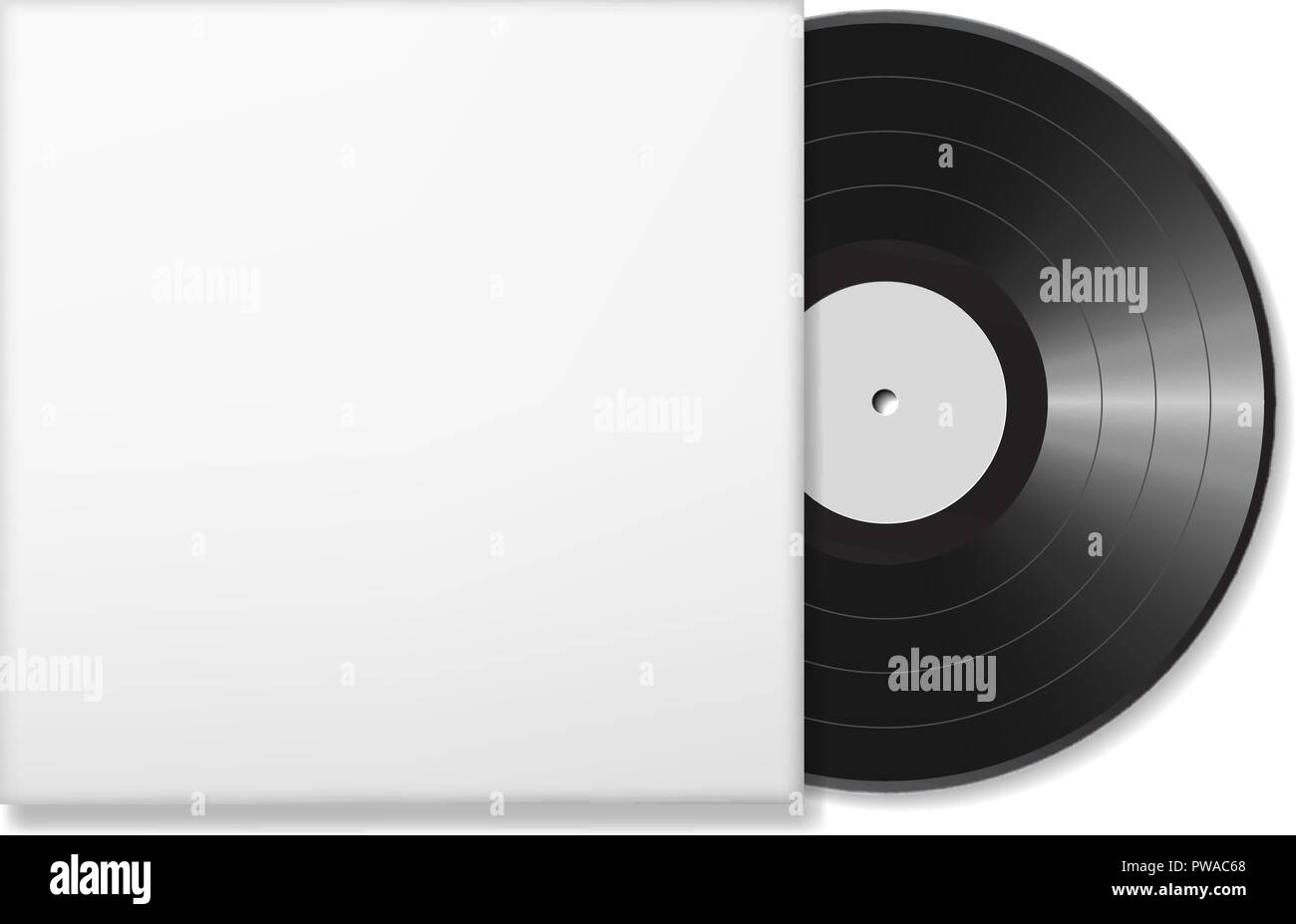 blank vinyl disc mock up in a case white background realistic