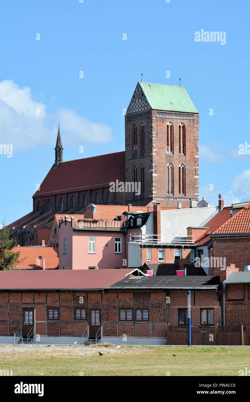 Saint Nicholas Church in the old town of Wismar - Stock Image