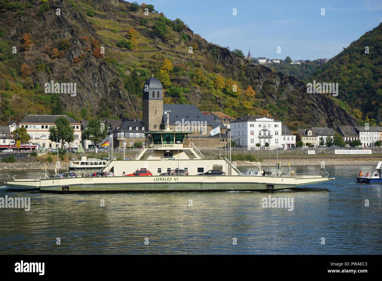 'Loreley' Fähre, Kaub, Autofähre, Welterbe Kulturlandschaft Oberes Mittelrheintal, Rhein, Deutschland, Europa - Stock Image
