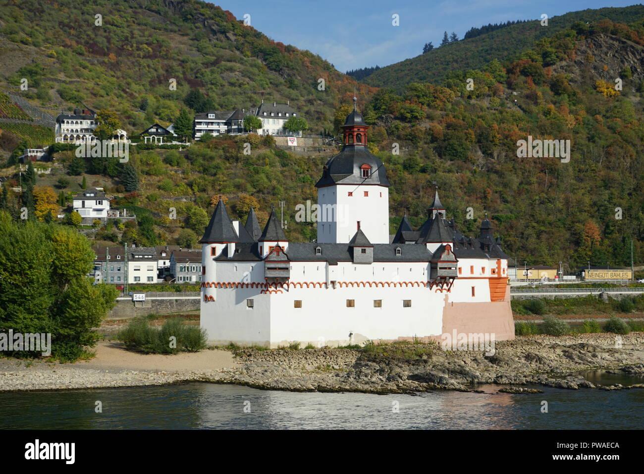 Burg Pfalzgrafenstein, Inselburg und Zollburg bei Kaub am Rhein, Welterbe Kulturlandschaft Oberes Mittelrheintal, Rhein, Deutschland, Europa - Stock Image