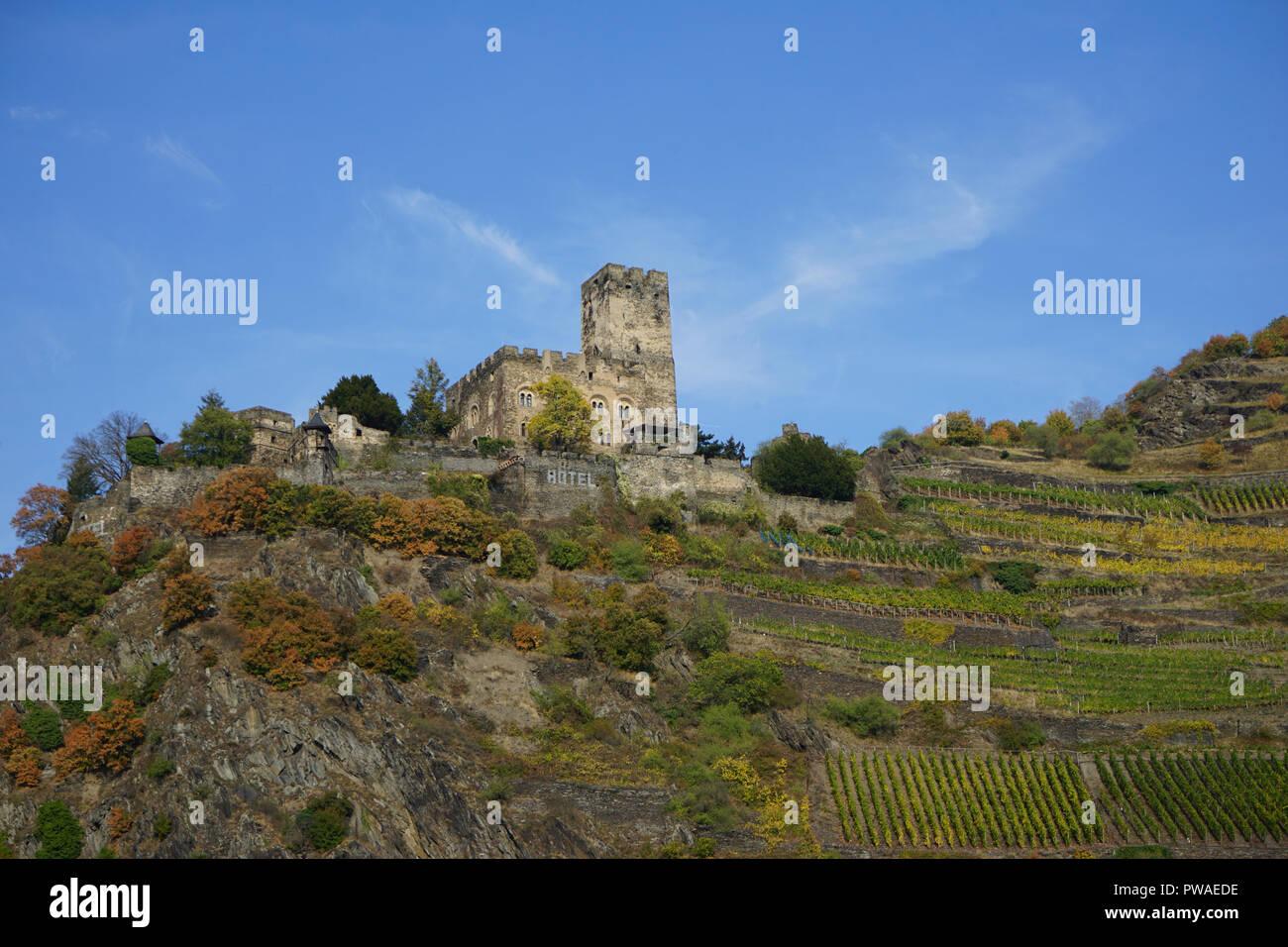 Burg Gutenfels, Kaub, Welterbe Kulturlandschaft Oberes Mittelrheintal, Rhein, Deutschland, Europa - Stock Image