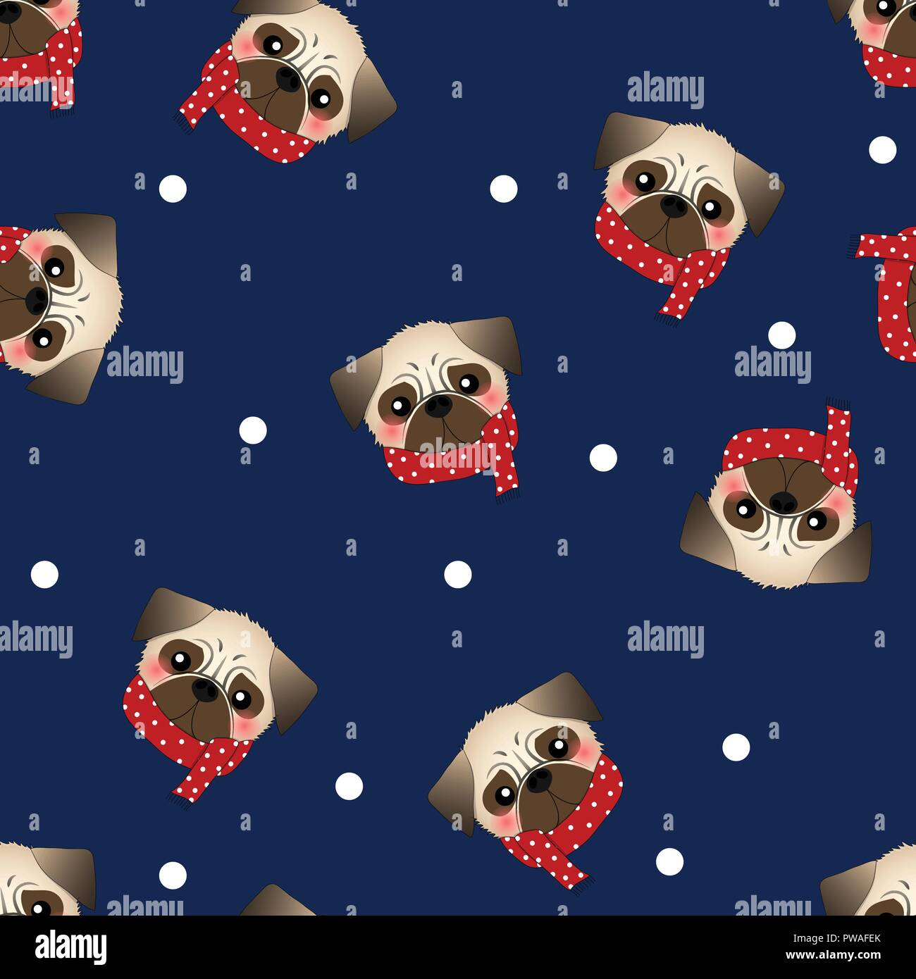Pug Dog with Red Scarf on Navy Blue Background. Vector Illustration. Stock Vector