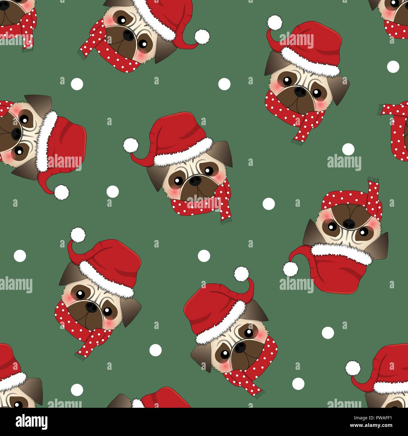Pug Santa Claus Dog with Red Scarf on Green Background. Vector Illustration. - Stock Image