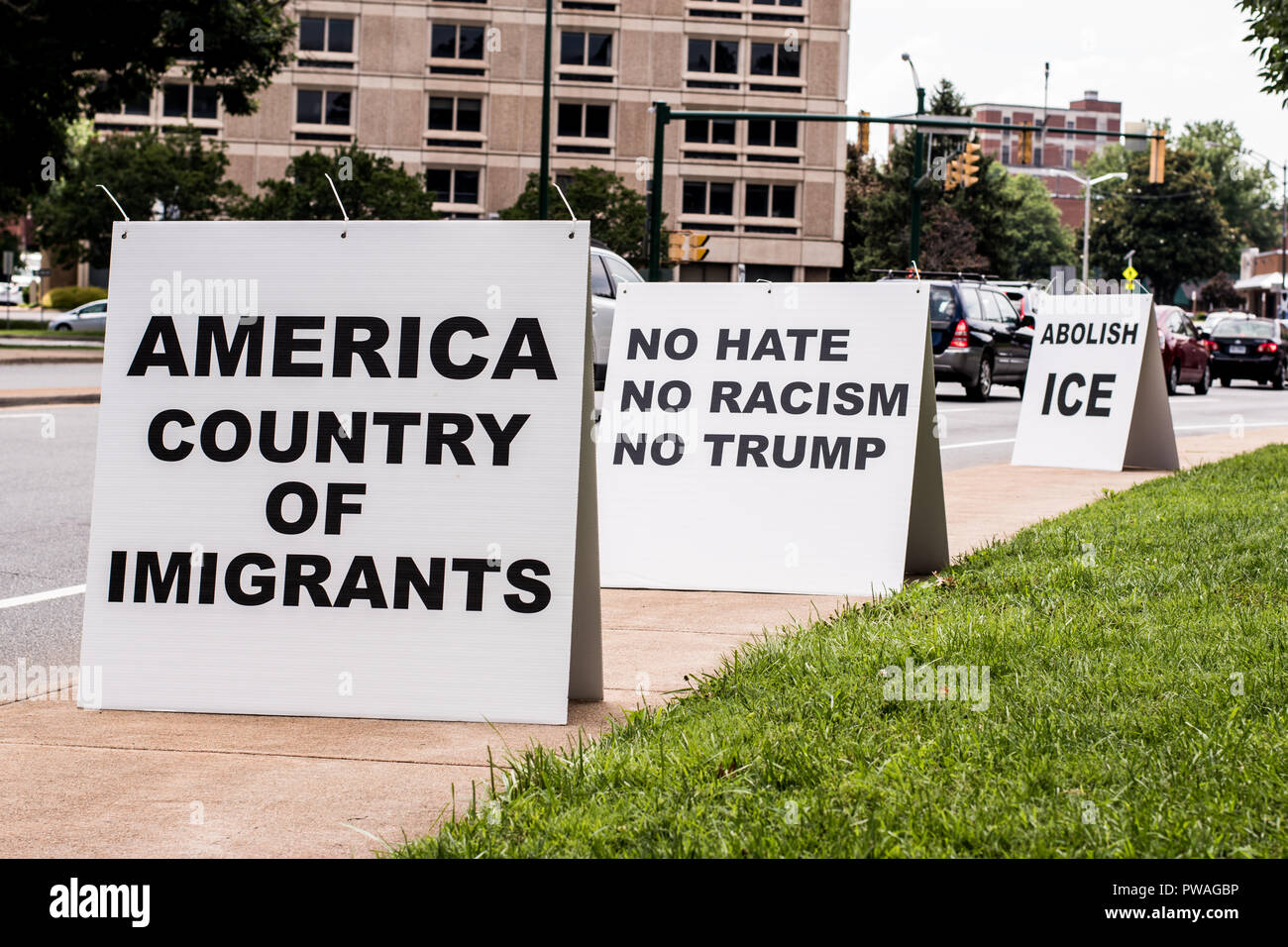 June 30, 2018 Charlottesville, Virginia U.S.A. Nationwide demonstration with activists protesting the separation of illegal immigrant families after b - Stock Image