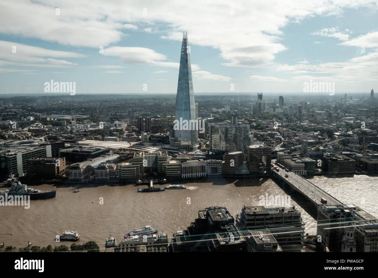 Aerial view of London skyline, including The Shard and the River Thames. Horizontal, copy space. - Stock Image