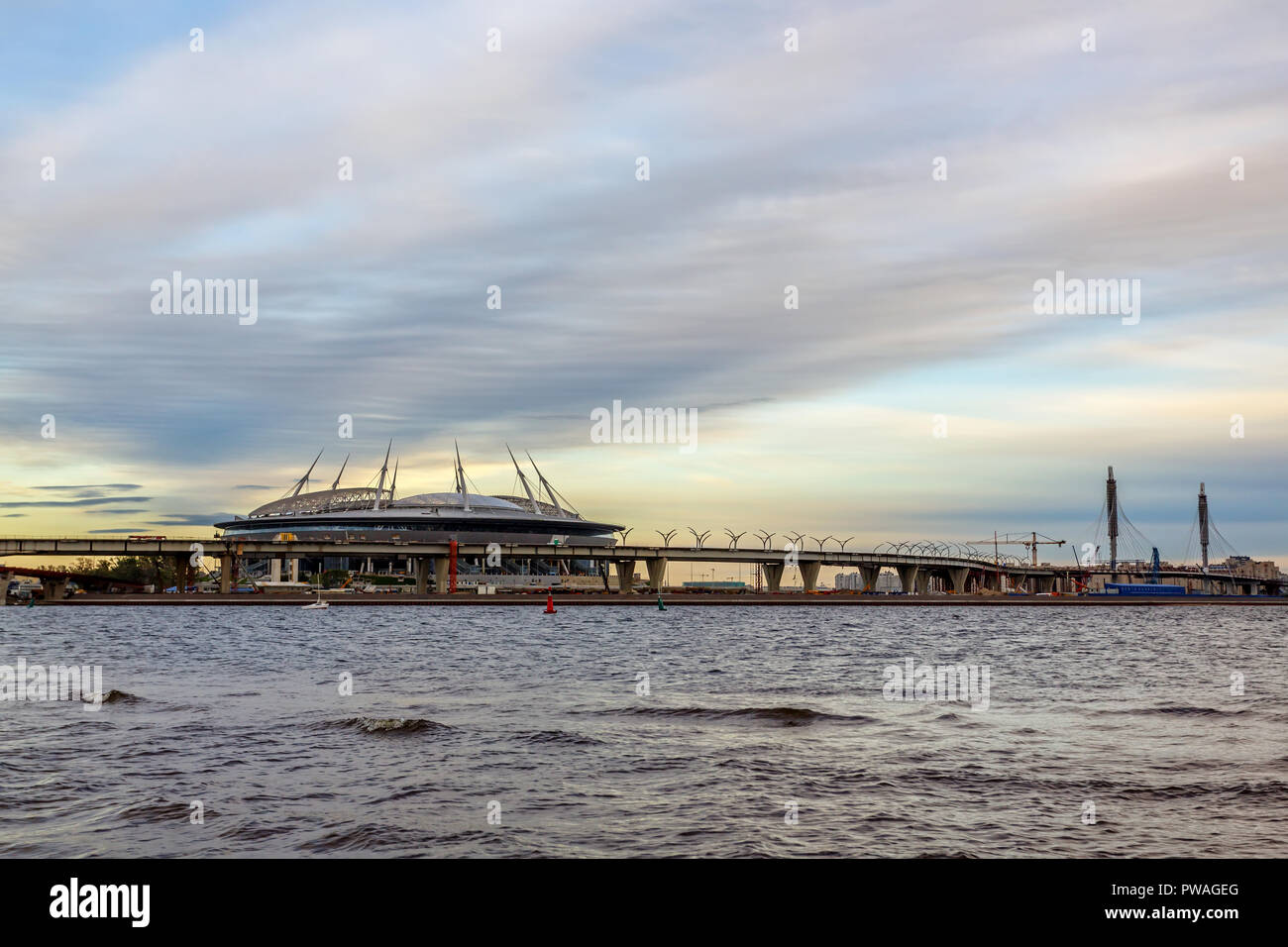 RUSSIA, SAINT PETERSBURG - August 28, 2016: Building stadium of local football team Zenit is called Zenith Arena, stadium currently under construction - Stock Image