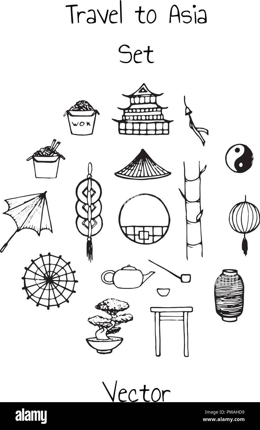 Vector asian set. Includes oriental elements contours: umbrellas, japanese lucky cats, coins,  lanterns, bonsai, torii gates, noodles, traditional hat - Stock Image