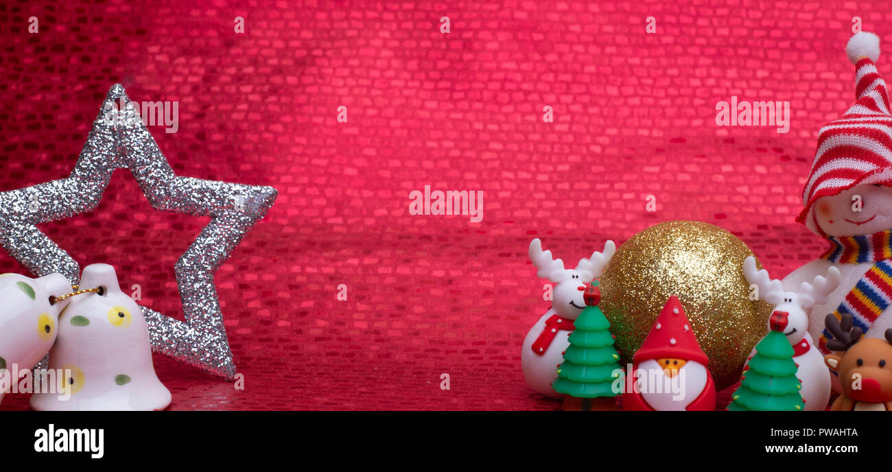 Christmas decorations, cute Gift on red background with copy space ...