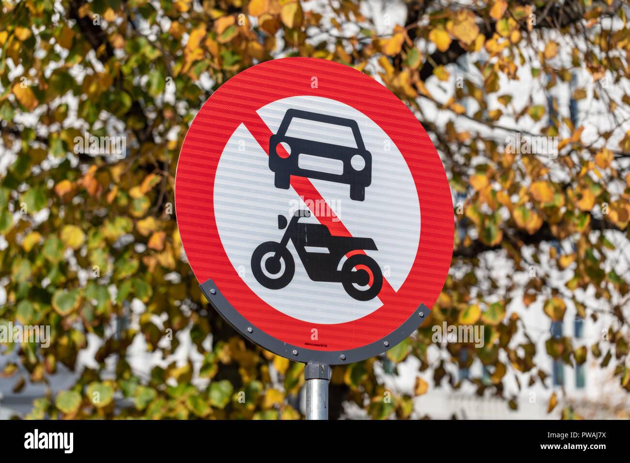No motor vehicles, traffic sign, Denmark - Stock Image