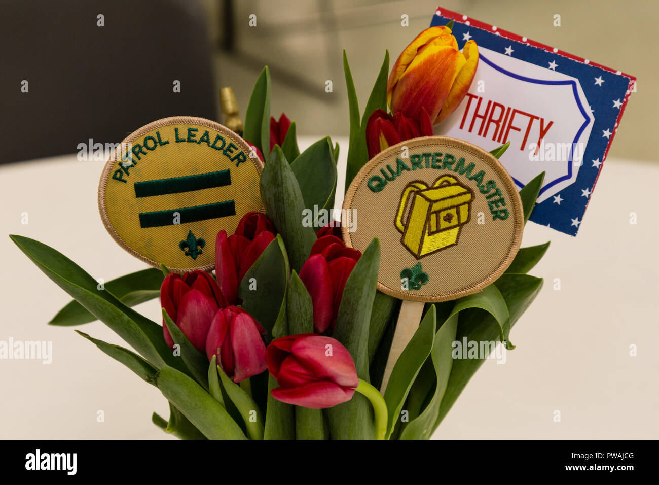 A Scout Patrol Leader and Quartermaster is Thrifty sign and patches in flowers - Stock Image