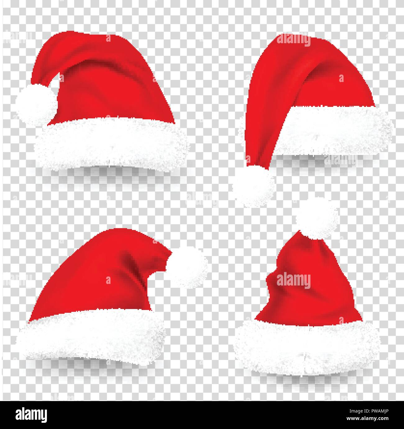 christmas santa claus hats with fur and shadow set new year red hat isolated on transparent background winter cap vector illustration