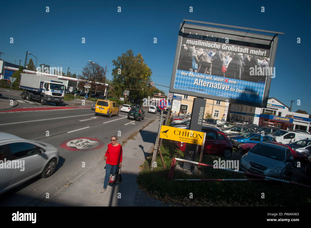 An AfD election poster on the outskirts of Rosenheim, Bavaria, Germany. - Stock Image
