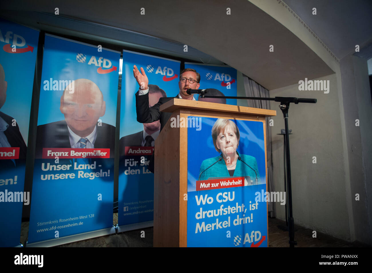 Andreas Winhart of the AfD speaking at an AfD politcal rally in a Bierkeller in Rosenheim, Bavaria, Germany. - Stock Image