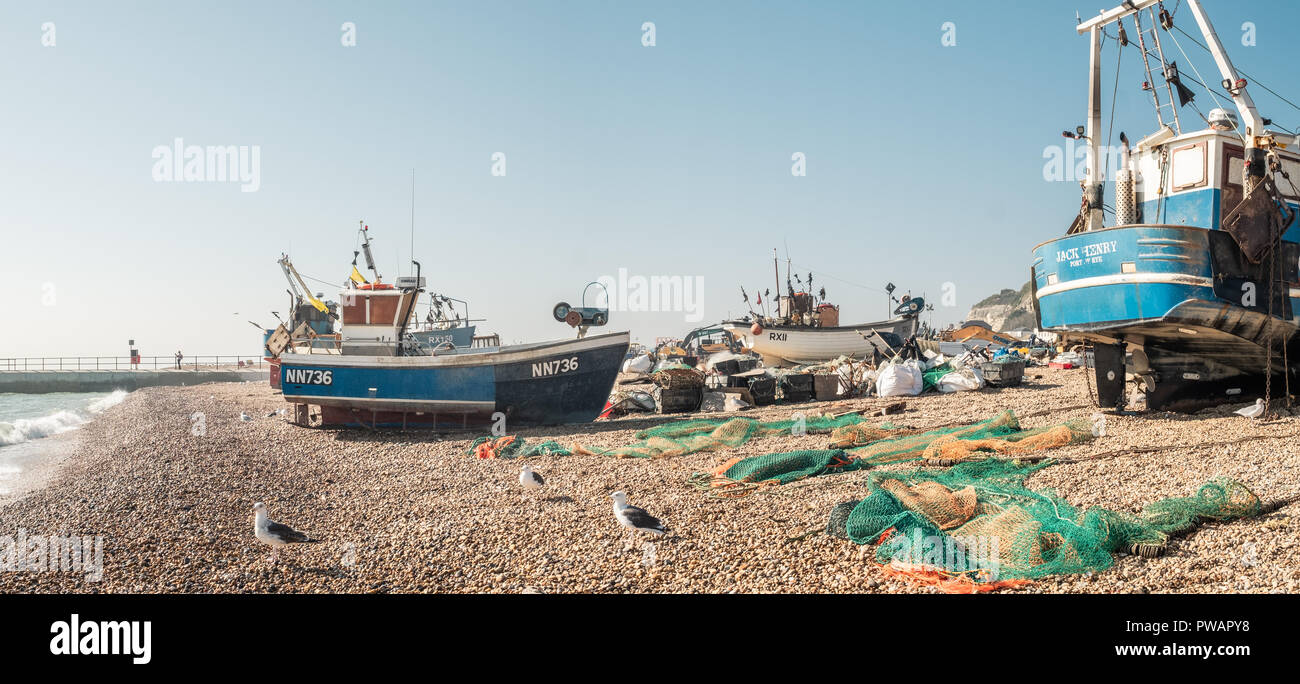 Fishing Boats, Hastings, Beach, East Sussex, UKg - Stock Image