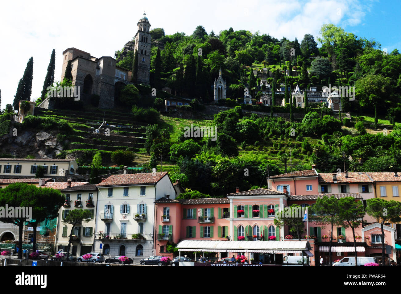 Cruise from Lugano city to Ponte Tresa with a stop over in Morcote Stock Photo