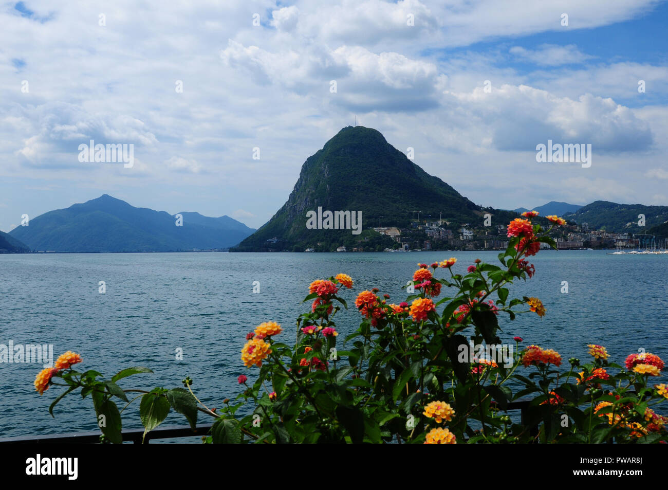 Ticino: View from Lugano City to Mount San Salvadore across the lake Stock Photo