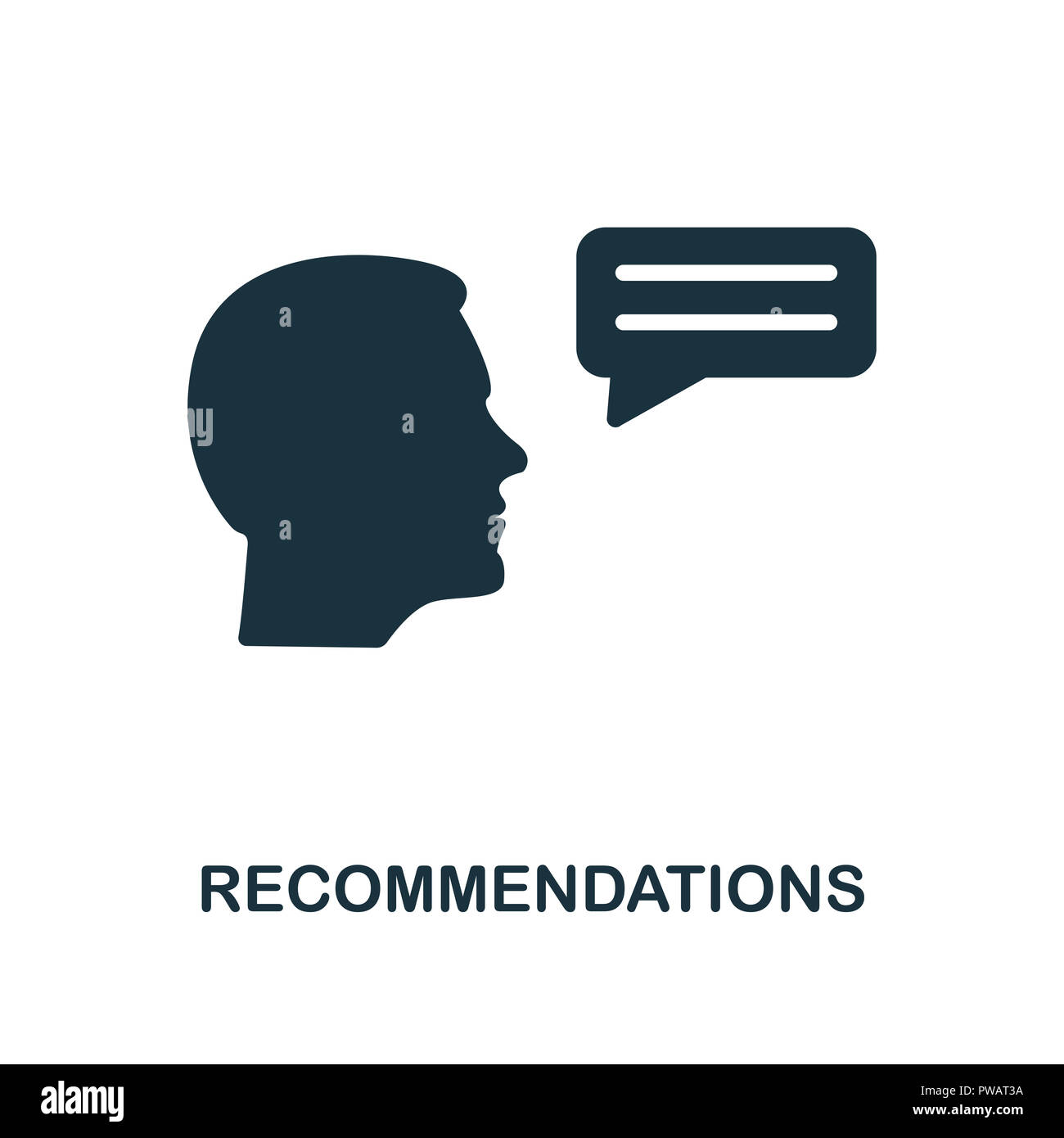 Recommendations icon. Monochrome style design from business ethics collection. UX and UI. Pixel perfect recommendations icon. For web design, apps, so - Stock Image