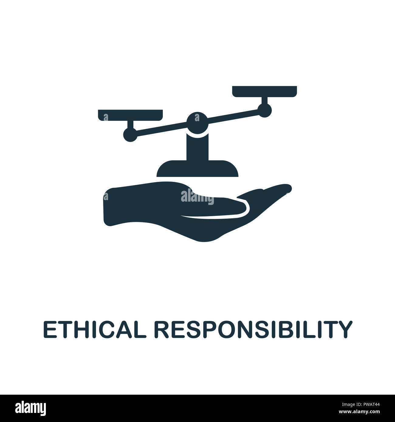 Ethical Responsibility icon. Monochrome style design from business ethics collection. UX and UI. Pixel perfect ethical responsibility icon. For web de - Stock Image