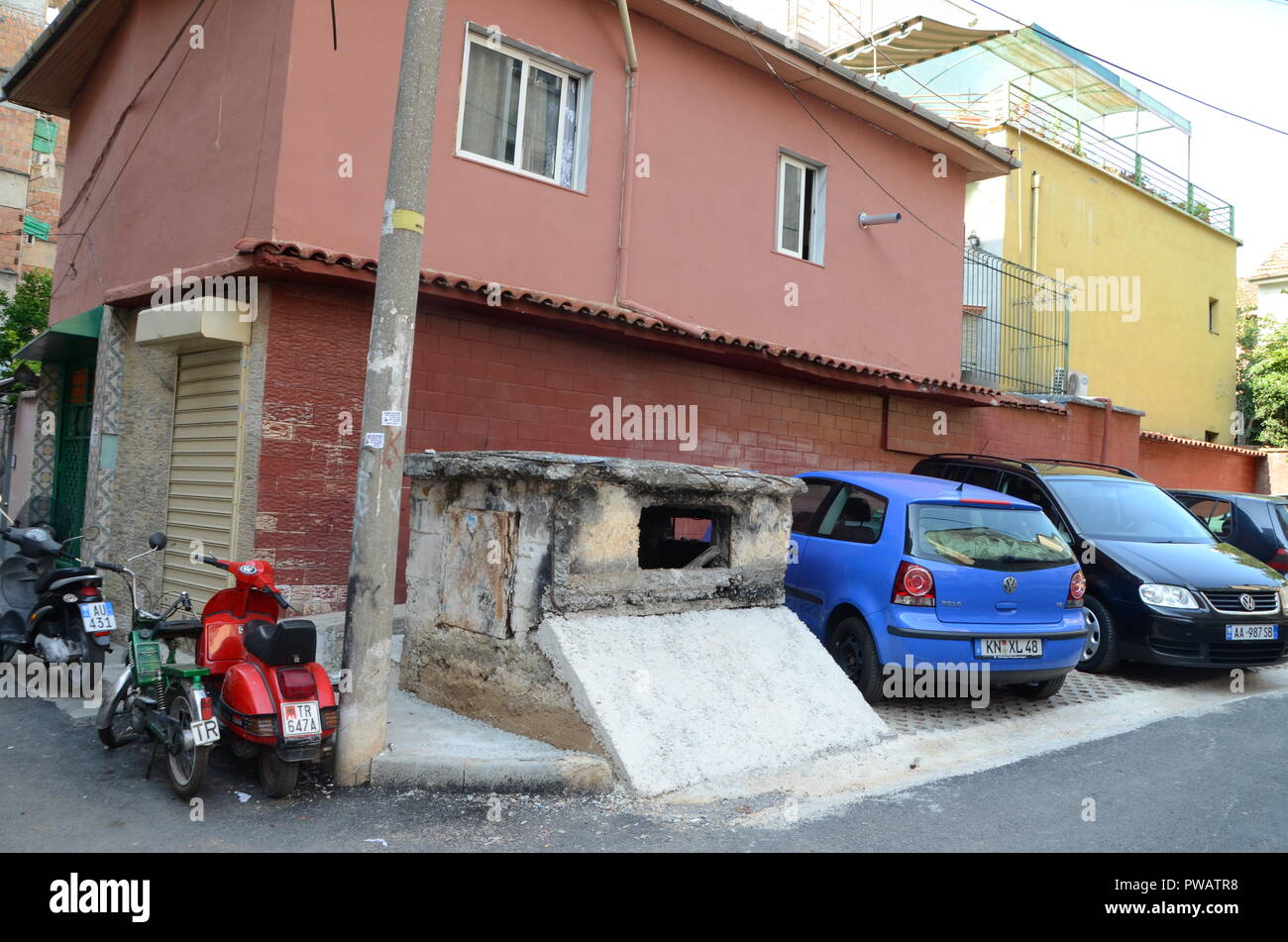 a disused military bunker in a tirana neighbourhood albania - Stock Image