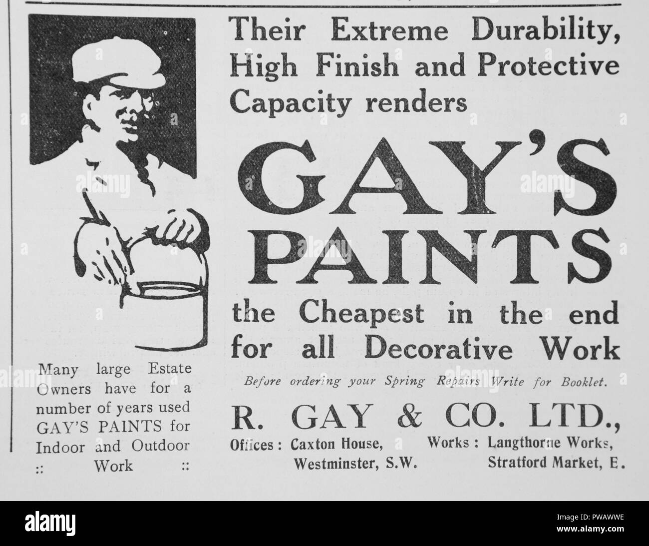 An advert for Gay's Paints. From an old magazine from the 1914-1918 period. England UK GB - Stock Image