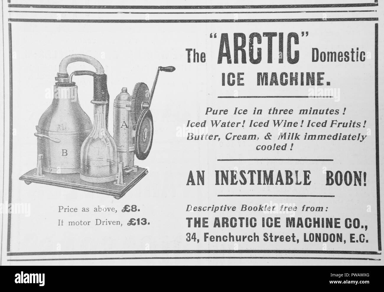 An advert for The Arctic domestic ice machine. From an old magazine from the 1914-1918 period. England UK GB - Stock Image