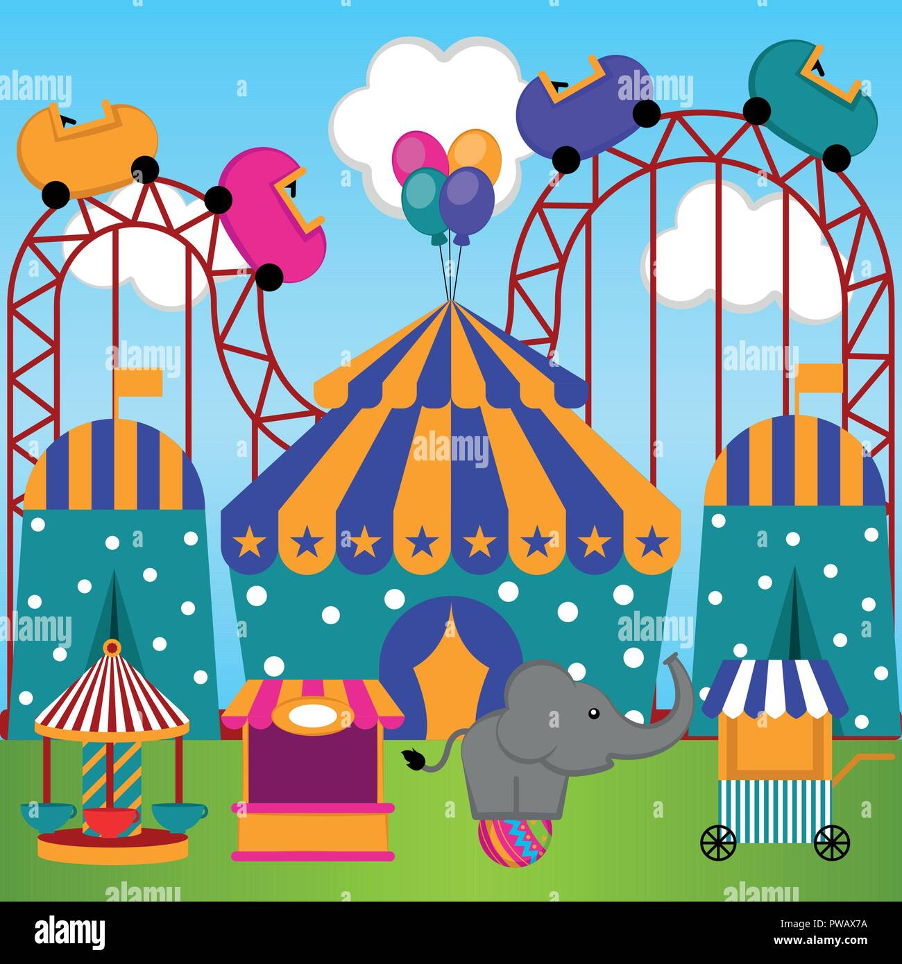 View Of A Carnival Theme Park Stock Vector Art