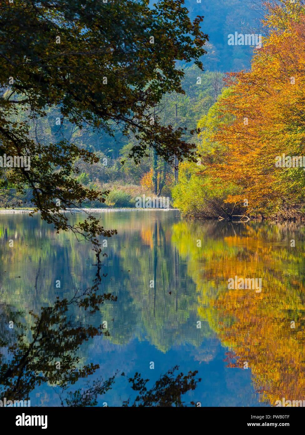 Autumn scenery in nature Brod na Kupi in Croatia - Stock Image