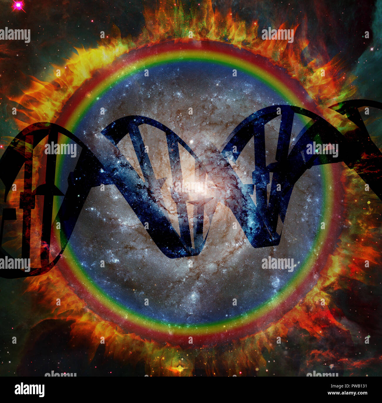 DNA strand - Origin of Life. Circle of Fire with Galaxy inside - Stock Image