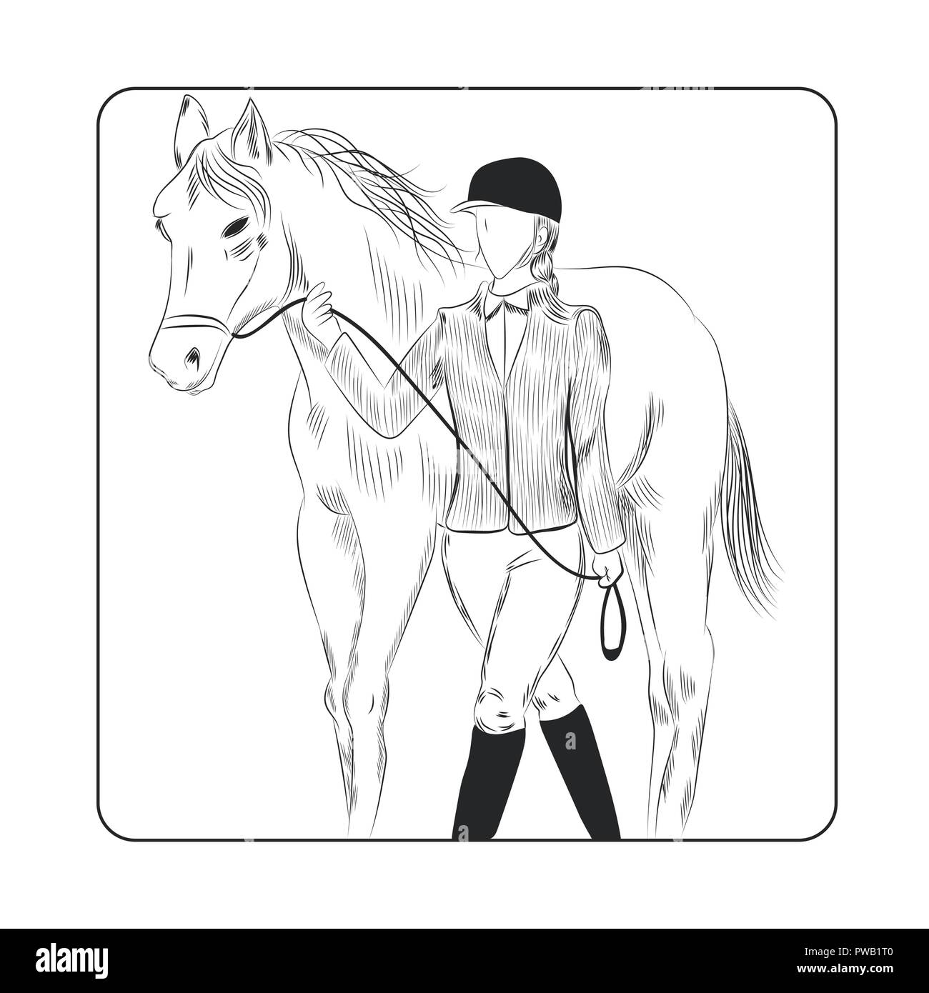 Jockey woman and horse hand drawn illustration. Outline woman in jockey uniform holding reins of a horse vector. - Stock Image