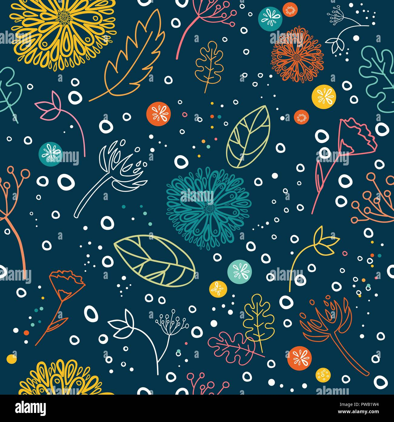 Floral seamless pattern. Colorful ornamental botanical elements. Cartoon decorative flowers seamless background. - Stock Vector