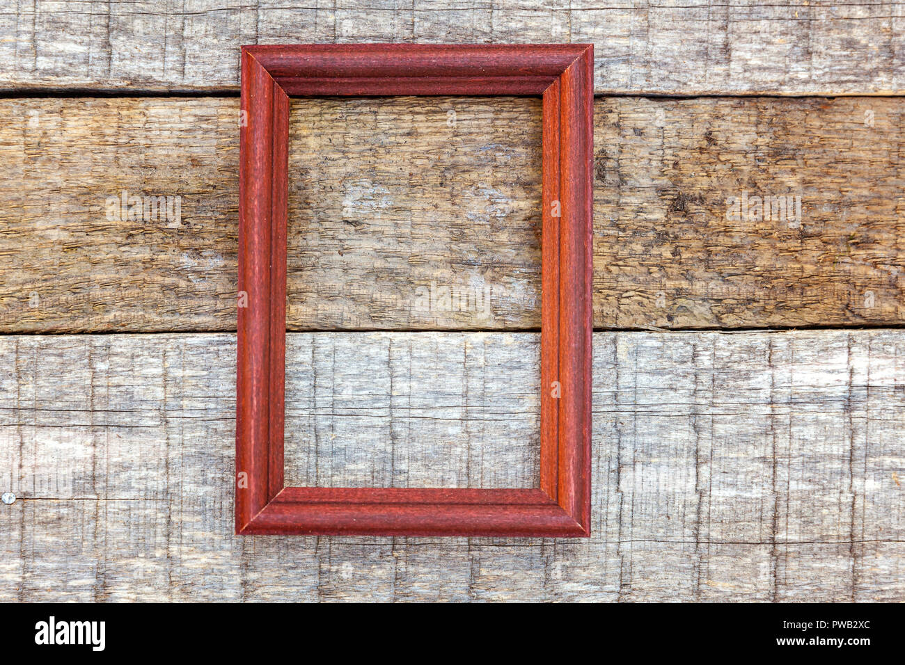 Simple Eco Rustic Old Vintage Wooden Frame On Desk Texture Background.  Close Up Of Wall Made Of Wooden Planks. Top View, Flat Lay, Copy Space,  Mock Up