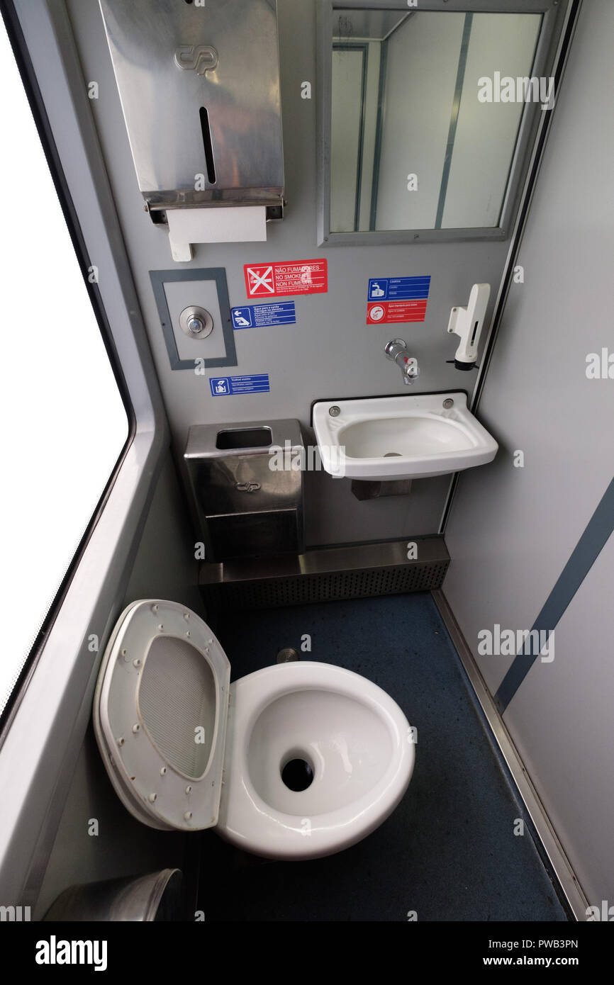 Small restroom on a train - Stock Image