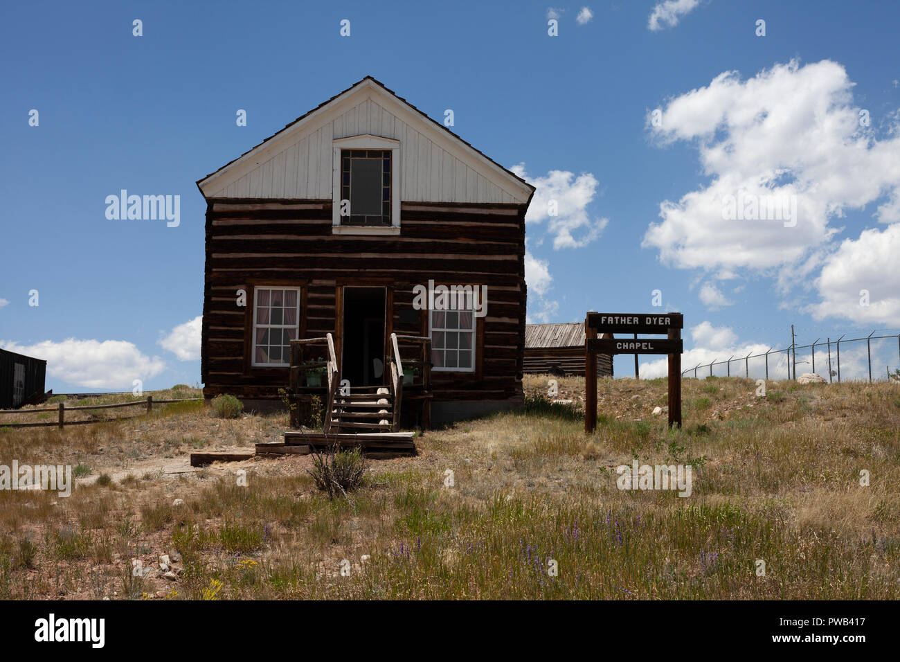 Father Dyer's Chapel, historic building in South Park City Museum, Colorado. Dedicated to the memory of John Lewis Dyer. - Stock Image