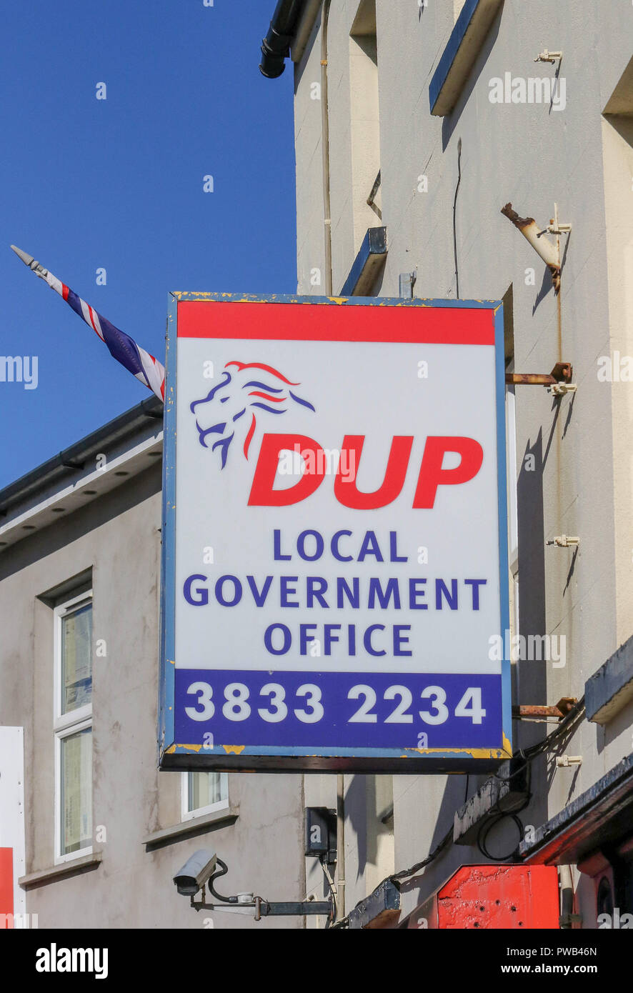 DUP Northern Ireland - a sign outside the Democratic Unionist Party office in Portadown, County Armagh, Northern Ireland. - Stock Image