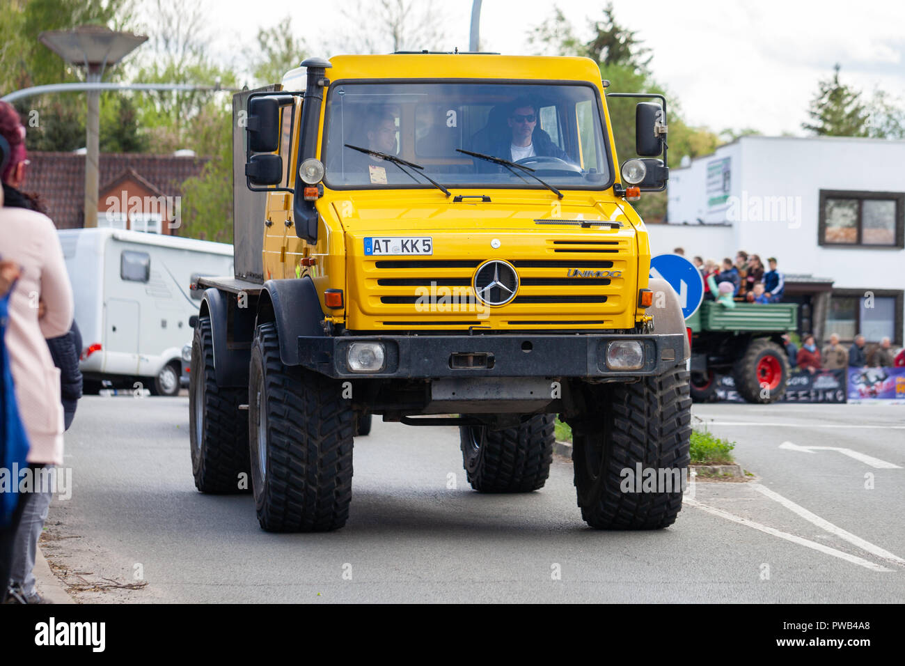 Altentreptow Germany May 1 2018 Mercedes Benz Unimog Drives On