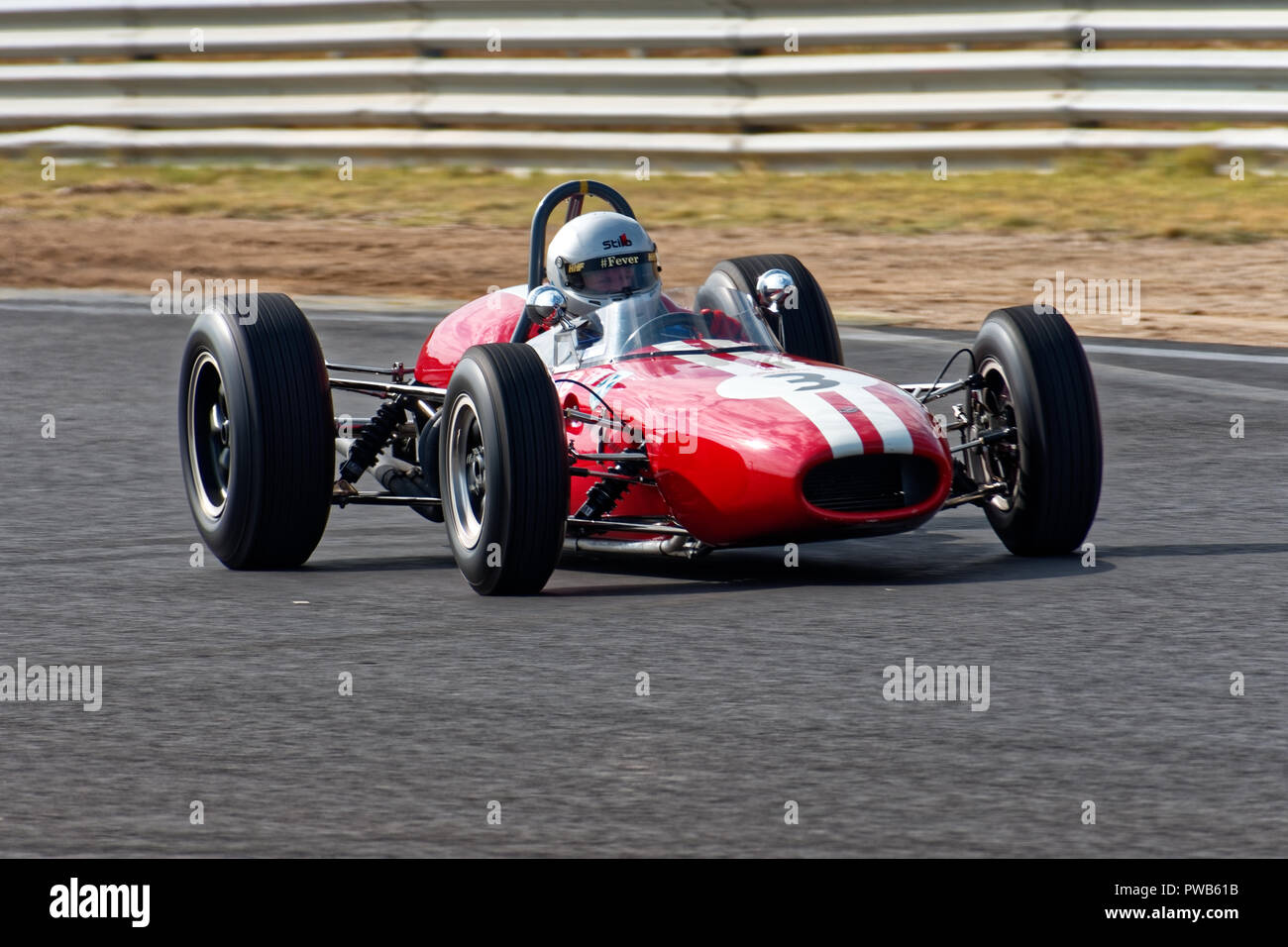 Jarama Circuit, Madrid, Spain. 13th - 14th October, 2018: Racing car # 3 Brabham Bt11A, 1964, 2.700cc, driver Barry Cannel. Competition of the Historic Grand Prix Cars Association (HGPCA) at the Jarama Circuit in Madrid, Spain. Enrique Palacio Sans./Alamy Live News - Stock Image