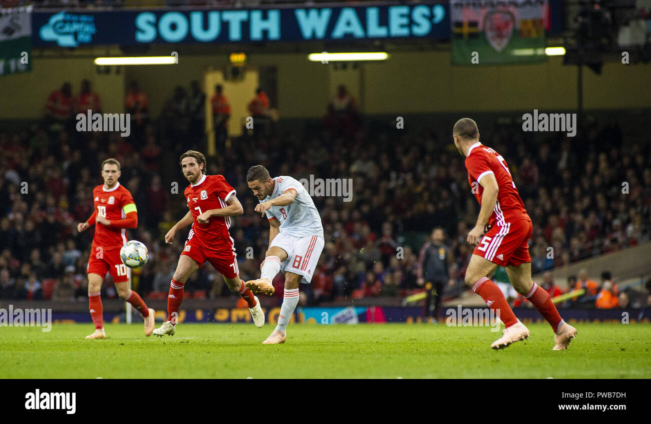Cardiff, UK. 11th Oct, 2018. Koke (Spain) seen in action during the Wales v Spain friendly match at the 'National Stadium.Final score Wales 1-4 Spain Credit: Gary Mitchell/SOPA Images/ZUMA Wire/Alamy Live News Stock Photo