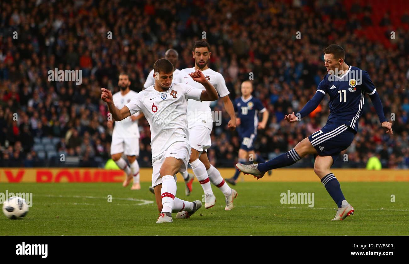 Hampden Park, Glasgow, UK. 14th Oct, 2018. International Football Friendly, Scotland versus Portugal; Callum McGregor of Scotland shoots on goal Credit: Action Plus Sports/Alamy Live News - Stock Image