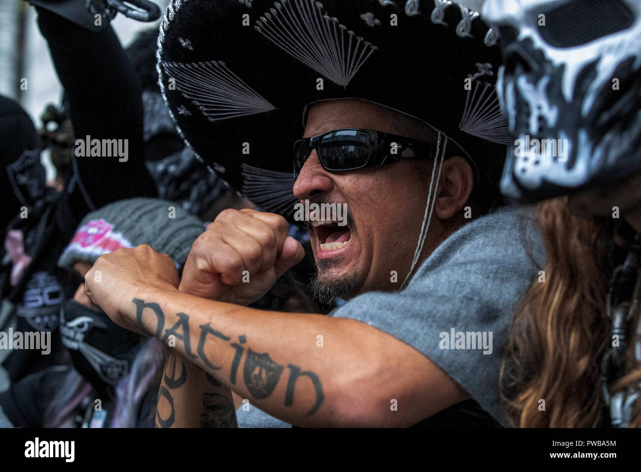 Wembley Stadium, London, UK. 14th Oct, 2018. NFL in London, game one, Seattle Seahawks versus Oakland Raiders; An Oakland Raiders fan Credit: Action Plus Sports/Alamy Live News Stock Photo