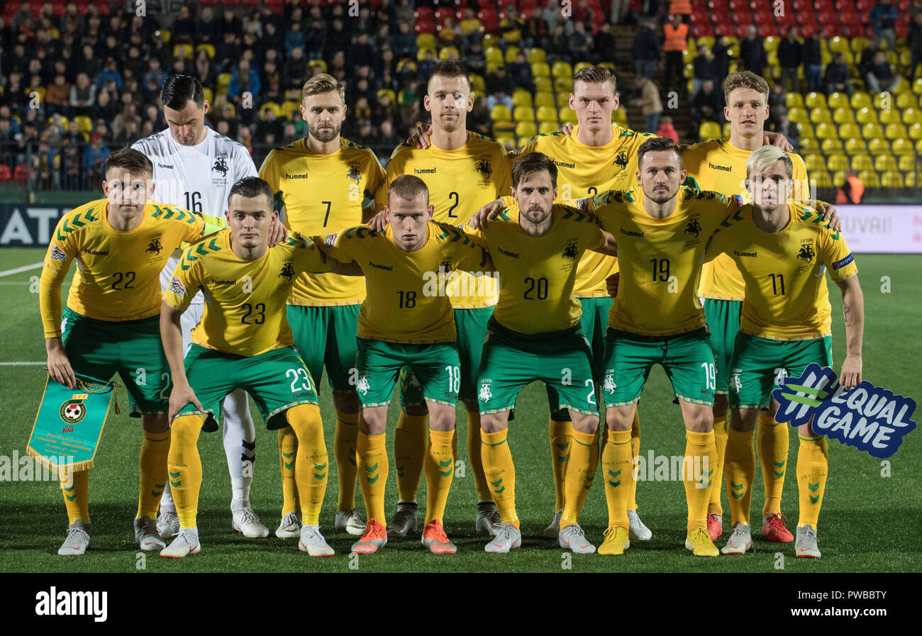 Vilnius, Lithuania. 14th Oct, 2018. Players of Lithuania line up before the UEFA Nations League C match between Lithuania and Montenegro at LFF Stadium in Vilnius, Lithuania, on Oct. 14, 2018. Montenegro won 4-1. Credit: Alfredas Pliadis/Xinhua/Alamy Live News - Stock Image