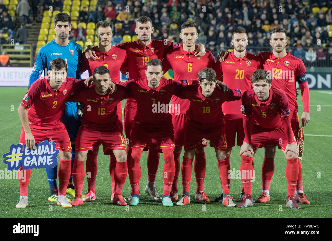Vilnius, Lithuania. 14th Oct, 2018. Players of Montenegro line up before the UEFA Nations League C match between Lithuania and Montenegro at LFF Stadium in Vilnius, Lithuania, on Oct. 14, 2018. Montenegro won 4-1. Credit: Alfredas Pliadis/Xinhua/Alamy Live News - Stock Image