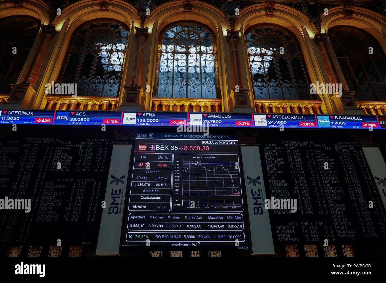 Madrid, Spain. 15th Oct, 2018. An information panel shows the evolution of Spanish index IBEX 35 at the stock market in Madrid, Spain, 15 October 2018. The IBEX 35 dropped a 0.06 per cent at the start of the trading day down to 8,896 points. Credit: Emilio Naranjo/EFE/Alamy Live News - Stock Image