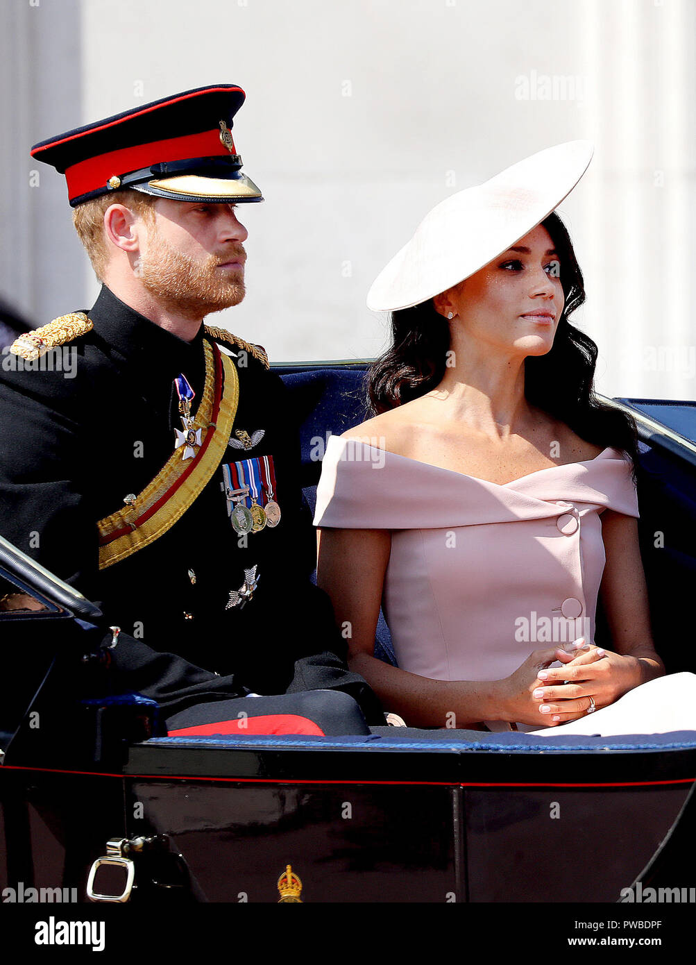 Prince Harry and Meghan, Duchess of Sussex leave at Buckingham Palace in London, on June 09, 2018, to attend Trooping the colour, the Queens birthday parade Photo : Albert Nieboer/Netherlands OUT/Point de Vue OUT - NO WIRE SERVICE - Photo: Albert Nieboer/RoyalPress/dpa | usage worldwide Stock Photo