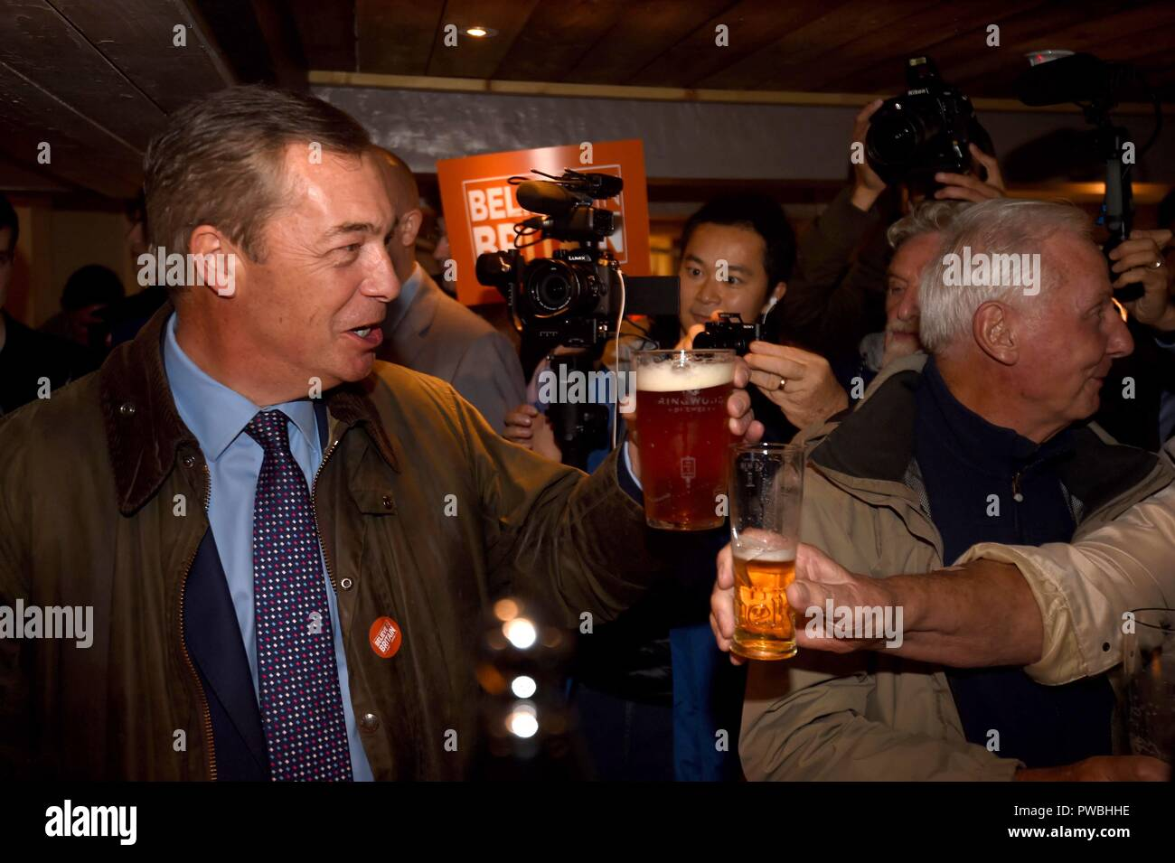 Bournemouth, UK. 15th Oct 2018. Nigel Farage MEP visits Bournemouth's Christchurch Market during the Leave Means Leave Brexit tour, UK. Pictured visiting The Ship pub for a pint Credit: Finnbarr Webster/Alamy Live News - Stock Image