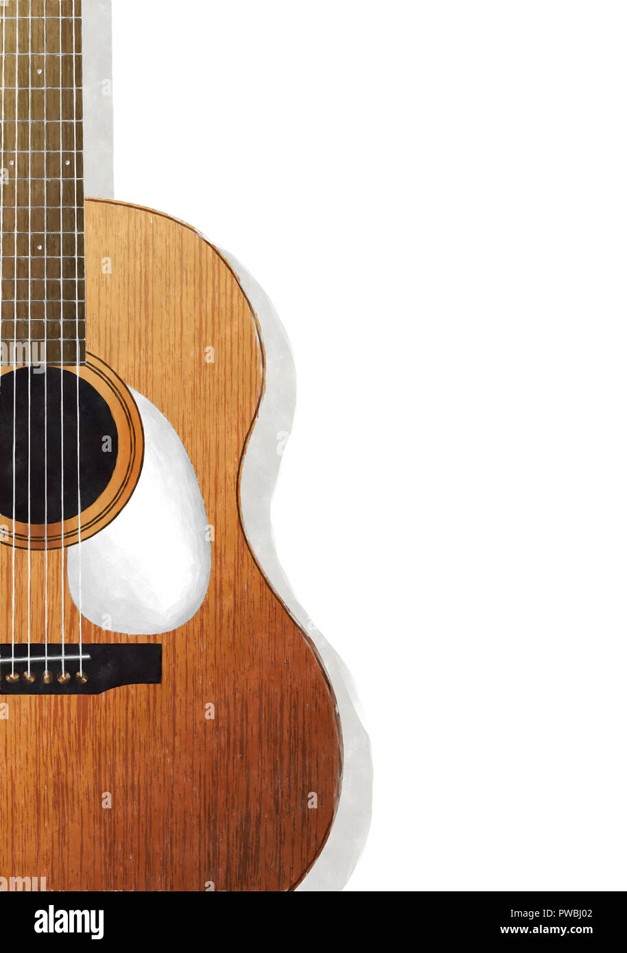 Watercolor acoustic guitar ocer white background - Stock Image