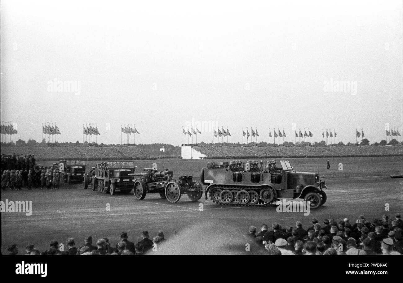 Nazi Germany NSDAP Nuremberg Rally 1936 Parade at the rally ground 10th September 1936 - Stock Image