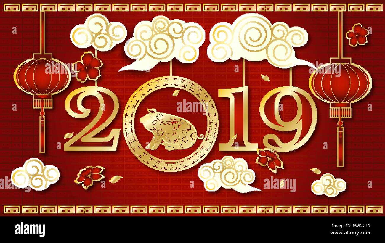 Happy chinese new year 2019 zodiac sign with gold paper - Lucky color for new year 2019 ...
