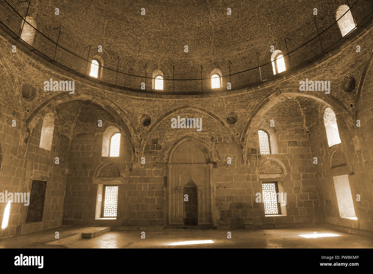 Akhaltsikhe Rabati Castle Fortress Complex Mosque Mihrab with Seipa Tone Effect - Stock Image