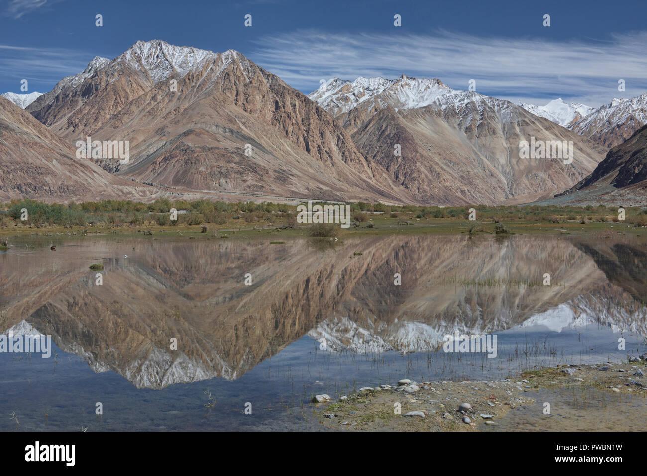 Karakoram Mountain reflections, Nubra Valley, Ladakh, India - Stock Image